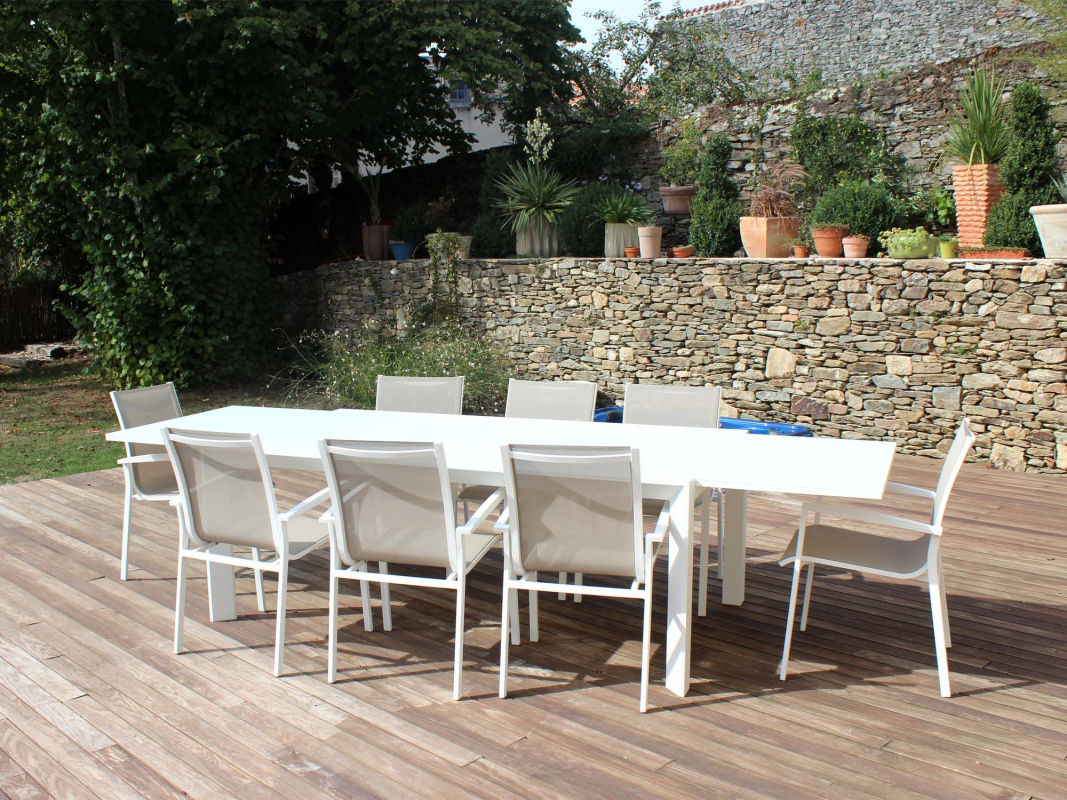 Salon de jardin harmony coloris blanc des for Fabriquer table mosaique