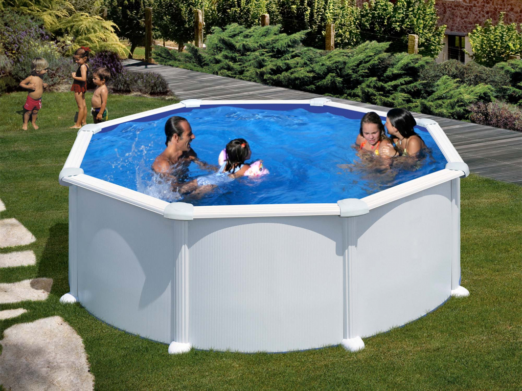 piscine acier ronde h 1 32 m blanche atlantis. Black Bedroom Furniture Sets. Home Design Ideas