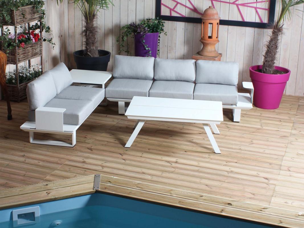salon bas d 39 angle capri blanc gris clair. Black Bedroom Furniture Sets. Home Design Ideas