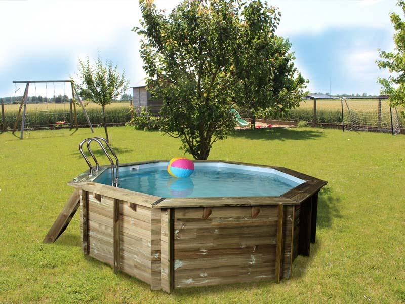 Piscine sunbay en bois ronde violette diam 5 11 m x h 1 for Bache piscine sunbay