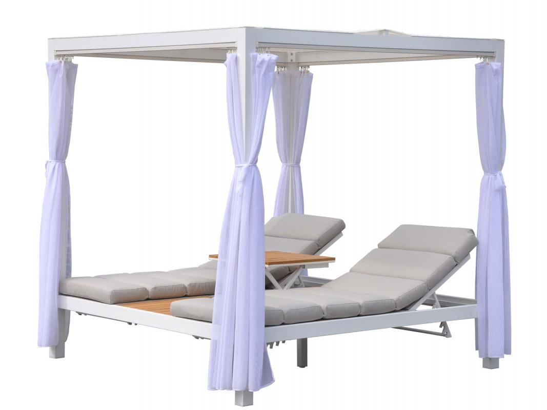 lit double de jardin brisbane blanc beige chin. Black Bedroom Furniture Sets. Home Design Ideas