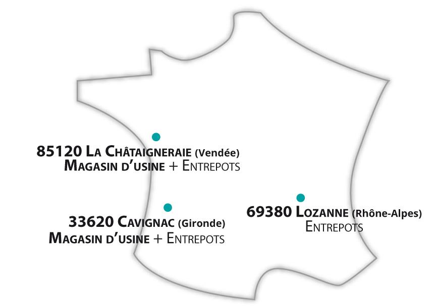Carte des magasins Jardimagine proposant le Click & Collect