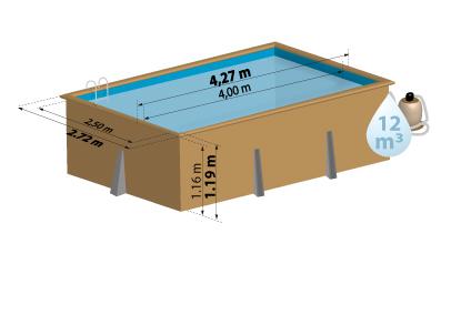 Schéma de présentation de la piscine en bois MARBELLA