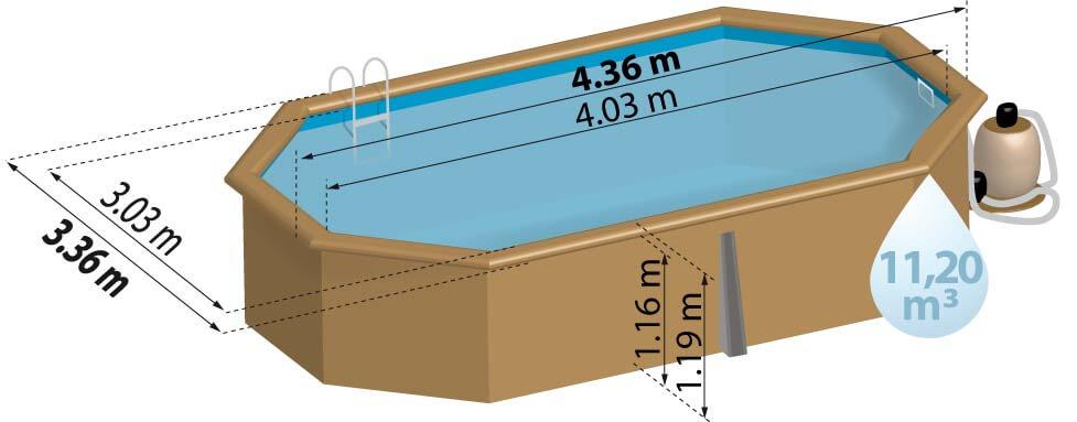 Schéma de présentation de la piscine en bois GRENADE
