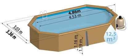 Schéma de présentation de la piscine en bois LIMA
