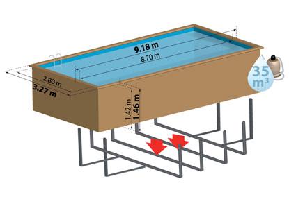 Schéma de présentation de la piscine en bois ANISE