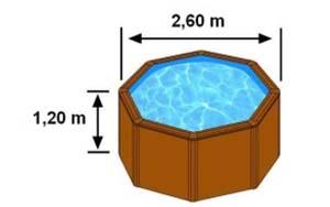 Les dimensions extérieures de la piscine CERDENA sont 2,60m sur 1,20m de hauteur