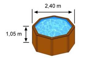 L'espace intérieur de nage de la piscine CERDENA est de 2,40m sur 1,05m de hauteur