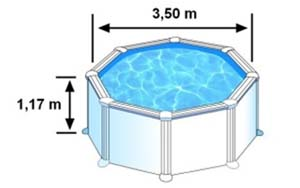 L'espace intérieur de nage de la piscine CERDENA est de 3,50m sur 1,05m de hauteur