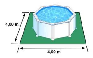L'espace nécessaire au sol pour la piscine CERDENA est de 16 m2
