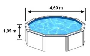 L'espace intérieur de nage de la piscine CERDENA est de 4,60m sur 1,05m de haut