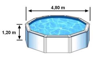 La piscine CERDENA a des dimensions extérieures de 4,80m pour 1,20 de haut