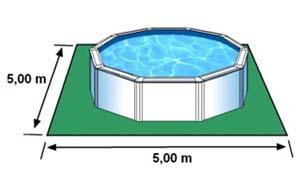 L'espace nécessaire au sol pour la piscine CERDENA est de 25 m2