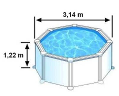 Les dimensions extérieures de la piscine SICILIA sont 3,14m sur 1,22m de hauteur