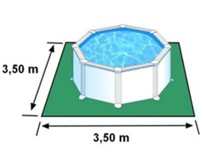 L'espace nécessaire au sol pour la piscine SICILIA est de 12,25 m2