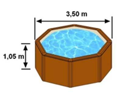 L'espace intérieur de nage de la piscine SICILIA est de 3,50m sur 1,05m de hauteur