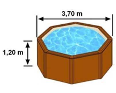 Les dimensions extérieures de la piscine SICILIA sont 3,70m sur 1,20m de hauteur