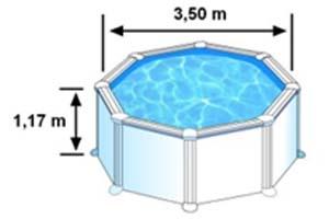 L'espace intérieur de nage de la piscine AZORES est de 3,50m sur 1,32 de hauteur