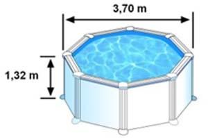Les dimensions extérieures de la piscine AZORES sont de 3,70m sur 1,32m de hauteur