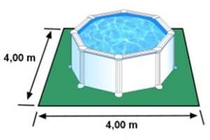 L'espace nécessaire au sol pour la piscine AZORES est de 16 m2