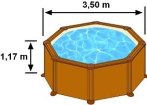 L'espace intérieur de nage de la piscine MALDIVAS est de 3,50m sur 1,17m de hauteur