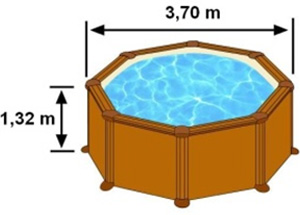Les dimensions extérieures de la piscine MALDIVAS sont 3,70m sur 1,32m de hauteur