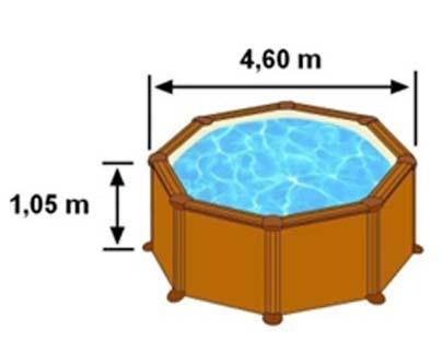 L'espace intérieur de nage de la piscine SICILIA est de 4,60m sur 1,05m de hauteur