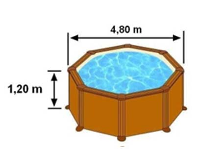 Les dimensions extérieures de la piscine SICILIA sont 4,80m sur 1,20m de hauteur