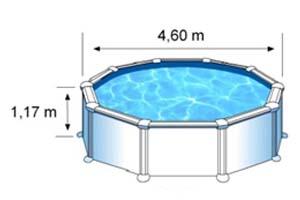 L'espace intérieur de nage de la piscine AZORES est de 4,60m sur 1,32m de hauteur