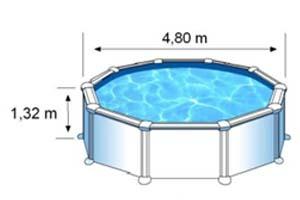 Les dimensions extérieures de la piscine AZORES sont de 4,80m sur 1,32m de hauteur