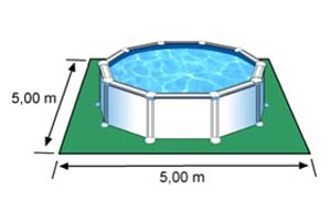 L'espace nécessaire au sol pour la piscine AZORES est de 25 m2