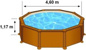 L'espace intérieur de nage de la piscine MALDIVAS est de 4,60m sur 1,17m de hauteur