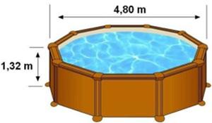 Les dimensions extérieures de la piscine MALDIVAS sont 4,80m sur 1,32m de hauteur