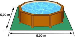 L'espace nécessaire au sol pour la piscine MALDIVAS est de 25 m2
