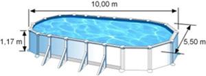 L'espace intérieur de nage de la piscine ATLANTIS est de 10,00m de long, 5,50m de large et 1,17m de haut