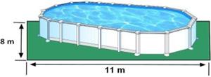 L'espace nécessaire au sol pour la piscine ATLANTIS est de 88 m2