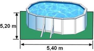 L'espace nécessaire au sol pour la piscine BORA BORA est de 28,08 m2