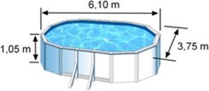 L'espace intérieur de nage de la piscine BORA BORA est de 6,10 m x 3,75 m x H. 1,05 m