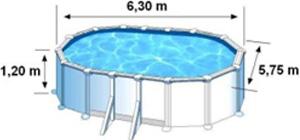 Les dimensions extérieures de la piscine BORA BORA sont de 6,30 m x 5,75 m x H. 1,20 m