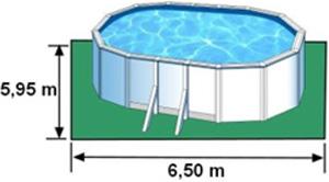 L'espace nécessaire au sol pour la piscine BORA BORA est de 45,17 m2