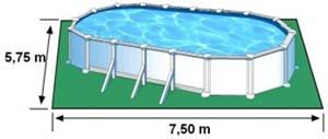 L'espace nécessaire au sol pour la piscine ATLANTIS est de 43,12 m2