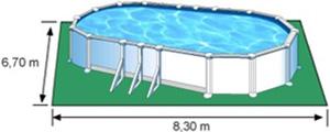 L'espace nécessaire au sol pour la piscine ATLANTIS est de 55,61 m2