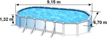 Les dimensions extérieures de la piscine ATLANTIS sont de 9,15m de long, 6,70m de large et 1,32m de haut