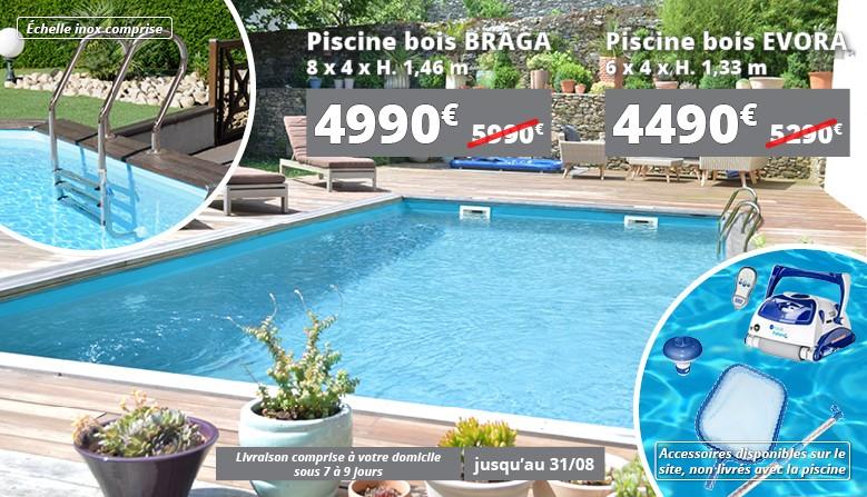 Promotions sur les piscines bois rectangulaires Braga : 4990€ au lieu de 5990€ et Evora : 4490€ au lieu de 5290€