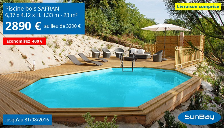 promotion piscine safran en bois